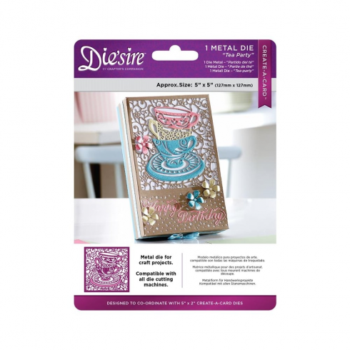 "Crafters Companion Diesire 5"" x 5"" Create a Card - Tea Party"