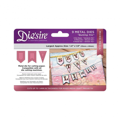 Diesire Crafters Companion Diesire Mixed Media Dies - Bunting Trio