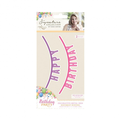Crafters Companion Sara Signature Collection - Birthday Party Metal Die - Sentiment Bunting