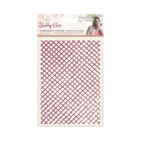 "Crafters Companion Sara Signature Collection - Shabby Chic 5"" x 7"" Embossing Folder - Distressed Lattice"