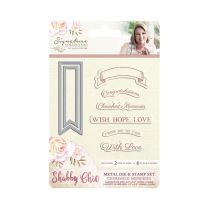 Crafters Companion Sara Signature Collection - Shabby Chic Metal Die & Clear Stamp Set - Cherished Memories
