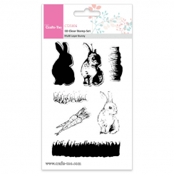 Crafts Too 3D Clear Stamp Set - Multi Layer Bunny (7pcs)