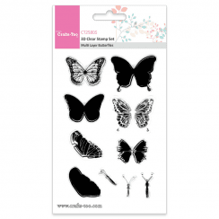 Crafts Too 3D Clear Stamp Set - Multi Layer Butterflies (10pcs)