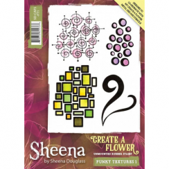 Sheena Create a Flower A6 Rubber Stamp - Funky Textures 1