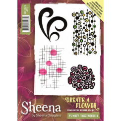 Sheena Create a Flower A6 Rubber Stamp - Funky Textures 2