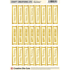 Craft Creations Creative Die-Cuts Gold/Cream - Mixed Happy Birthday