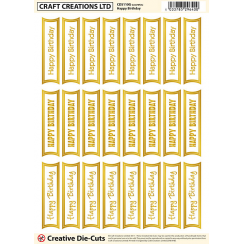 Craft Creations Creative Die-Cuts Gold/White - Mixed Happy Birthday