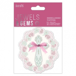 Papermania Embellished Topper - Floral Cross - Jewels & Gems