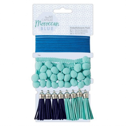 Docrafts Embellishments Pack (10pcs) - Capsule - Moroccan Blue