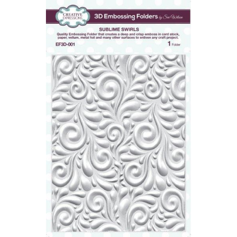 Sue Wilson Emboss Folder 3D Sublime Swirls 5 3/4 x 7 1/2
