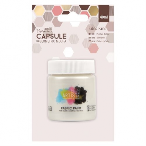 Papermania Fabric Paint - Capsule - Geometric Mocha - Pearlised White