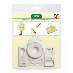 Katy Sue Designs Fashion Accessories Cake Decorating Silicone Mould, Contains Hat, Bag, Shoes, Bow and Hat stand, Use with Fondant, Icing, Chocolate