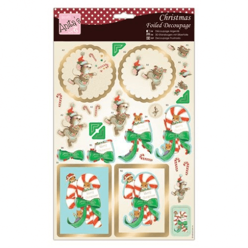Anitas Foiled Decoupage - Candy Cane Critters