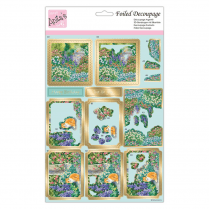 Anitas FOILED DECOUPAGE - CAT IN THE GARDEN