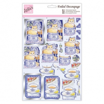 Anitas Foiled Decoupage - Cats at Teatime