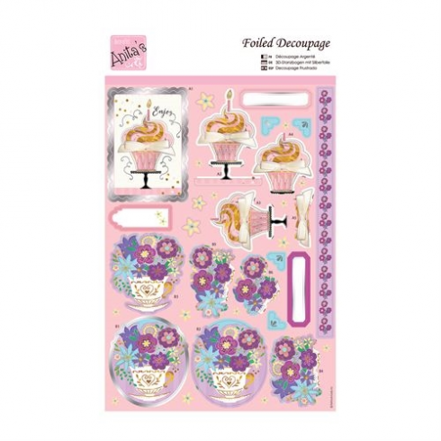Docrafts Foiled Decoupage - Floral Cupful