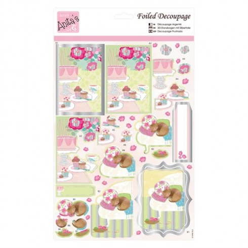 Anitas Foiled Decoupage - Kitty and Cake