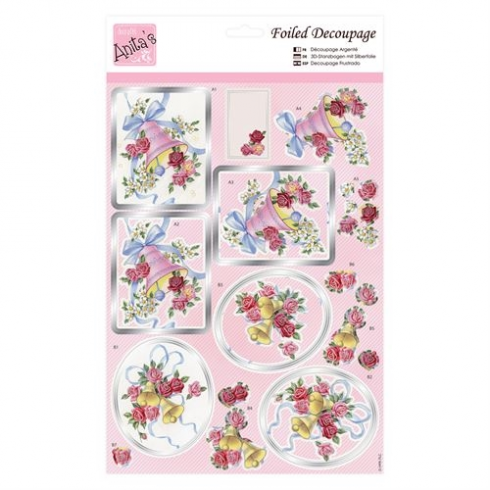 Foiled Decoupage - Roses and Bells