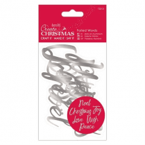 Create Christmas Foiled Words (12pcs) - Silver