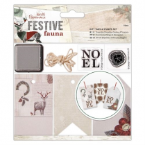 Papermania Gift Tags & Stamps Set (16pcs) - Festive Fauna