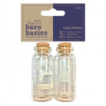 Papermania Glass Bottles (2pcs) - Haberdashery - Bare Basics