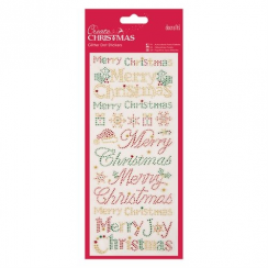 Docrafts Glitter Dot Stickers - Christmas Text