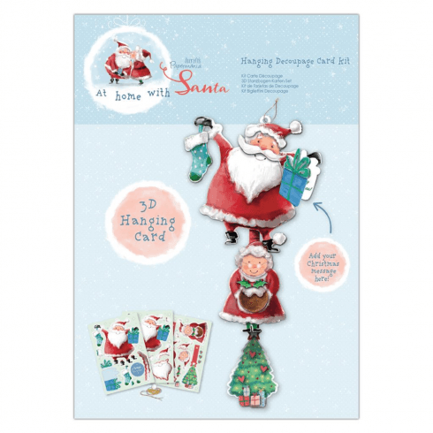Papermania HANGING DECOUPAGE CARD KIT - AT HOME WITH SANTA