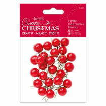 Papermania Large Decorative Berries (24pk) - Red