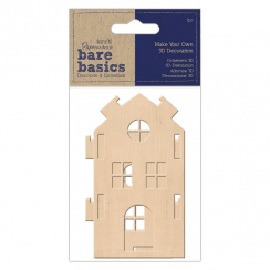 Papermania MAKE YOUR OWN 3D DECORATION - BARE BASICS - MEDIUM WOODEN HOUSE