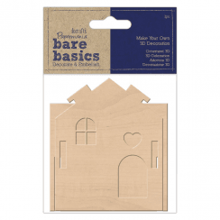 Papermania MAKE YOUR OWN 3D DECORATION - BARE BASICS - WOODEN HOUSE