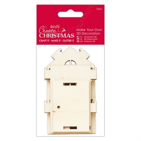 Create Christmas Make Your Own 3D Decoration   Medium Wooden House
