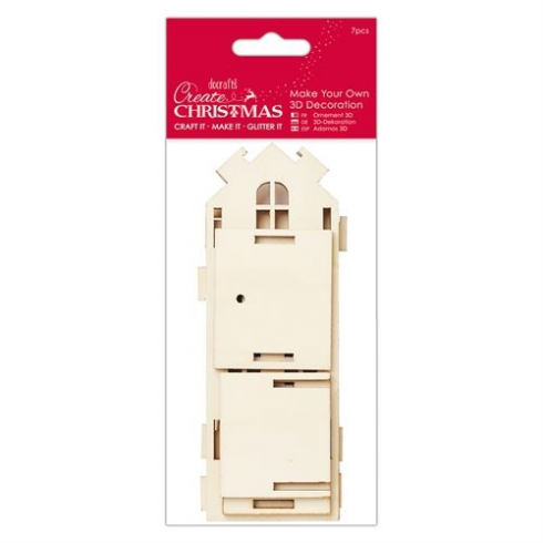 Create christmas make your own 3d decoration tall wooden for Create your own house 3d