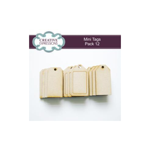 Creative Expressions MDF Mini Tags Pack of 12