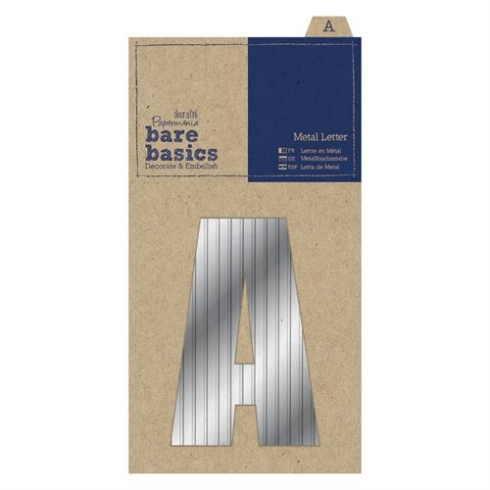 Papermania Metal Letters (1pc) - Bare Basics - A - Silver
