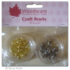 Woodware Mini Craft Brads, Hearts - Gold & Silver (160 Pieces)