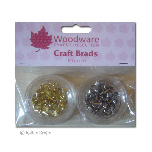 Woodware Mini Craft Brads, Squares - Gold & Silver (160 Pieces)