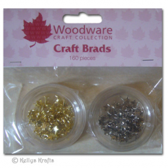 Woodware Mini Craft Brads, Stars - Gold & Silver (160 Pieces)