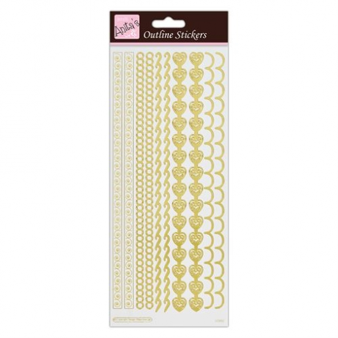 Docrafts Outline Stickers - Border - Gold on White
