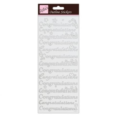 Docrafts Outline Stickers - Congratulations - Silver on White