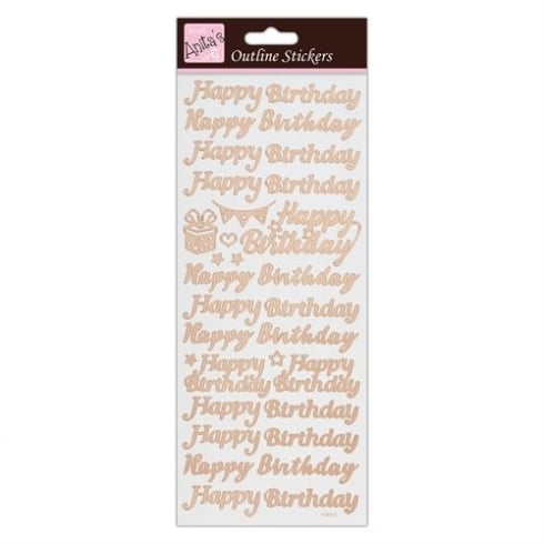 Docrafts Outline Stickers - Happy Birthday - Rose Gold on White
