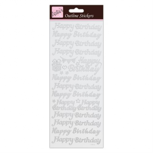 Docrafts Outline Stickers - Happy Birthday - Silver on White