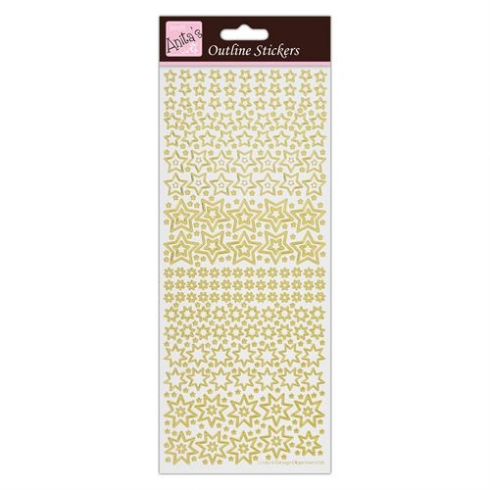 Docrafts Outline Stickers - Sparkling Stars - Gold on White
