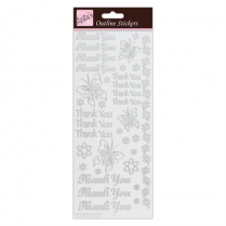 Docrafts Outline Stickers - Thankyou - Silver on White
