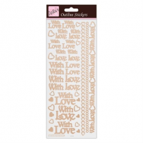 Docrafts Outline Stickers - With Love - Rose Gold on White