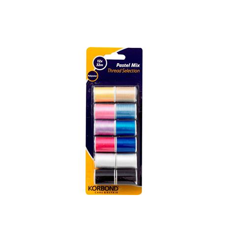 Korbond Pastel Mix Thread Selection 12x32m
