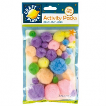 Craft Planet Pompoms (30pk) - Pastel Assorted Items