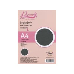 Bersan Premium Quality Double Sided Pearlescent Card - Black