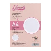 Bersan Premium Quality Double Sided Pearlescent Card - Cream/White