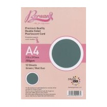 Bersan Premium Quality Double Sided Pearlescent Card - Green/Red
