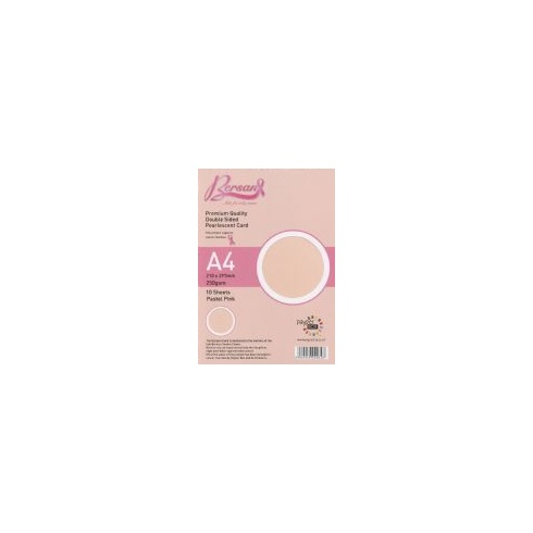 Bersan Premium Quality Double Sided Pearlescent Card - Pastel Pink
